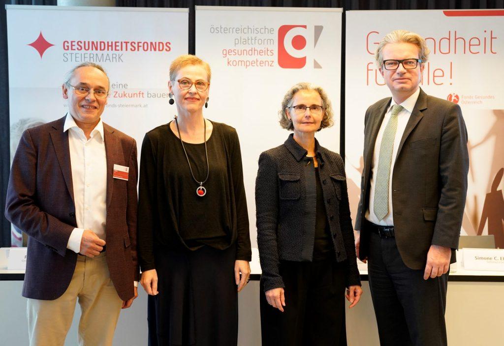 v.l.n.r. Peter Nowak, Christina Dietscher, Simone C. Ehmig, Christopher Drexler © Gesundheitsfonds Steiermark/Hutter