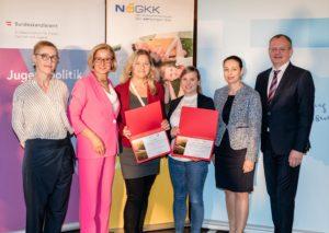 Das Institut für Frauen- und Männergesundheit und die Wiener Gebietskrankenkasse, vertreten durch Hilde Wolf und Sabine Slovencik, erhielten als neues Mitglied der ÖPGK eine Urkunde.