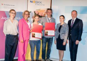 Das Institut für Frauen- und Männergesundheit und die Wiener Gebietskrankenkasse, vertreten durch Romeo Bissuti und Jana Sonnberger, erhielten als neues Mitglied der ÖPGK eine Urkunde.