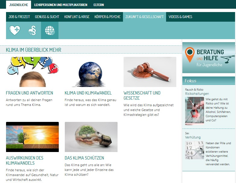Screenshot des neuen Themas Klima auf feel-ok.at ©feel-ok.at