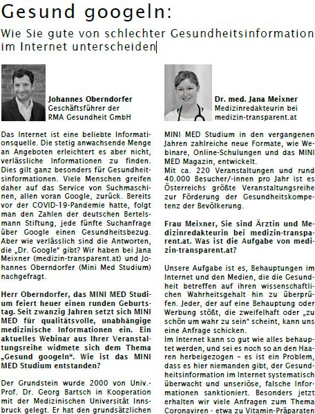 Beitrag ÖPGK Magazin RMA Gesundheit