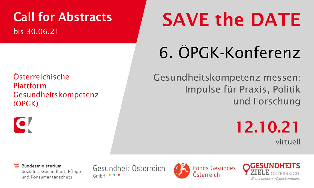 Save the Date 6. ÖPGK-Konferenz am 12. Oktober 2021